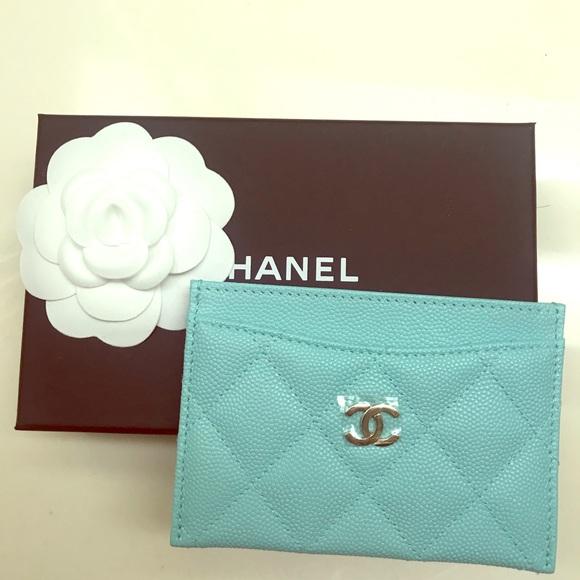 081c35c4df8d83 CHANEL Accessories | New Caviar Tiffany Blue Card Holder | Poshmark